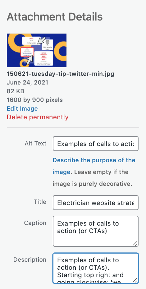 Labelling images with alt text example